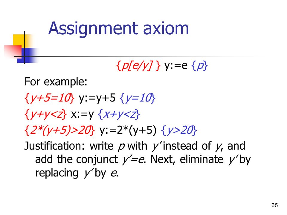 Assignment axiom {p[e/y] } y:=e {p} For example: